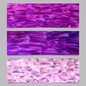 Abstract triangular polygon pattern mosaic banner template background set - trendy vector illustrations from colored irregular triangles