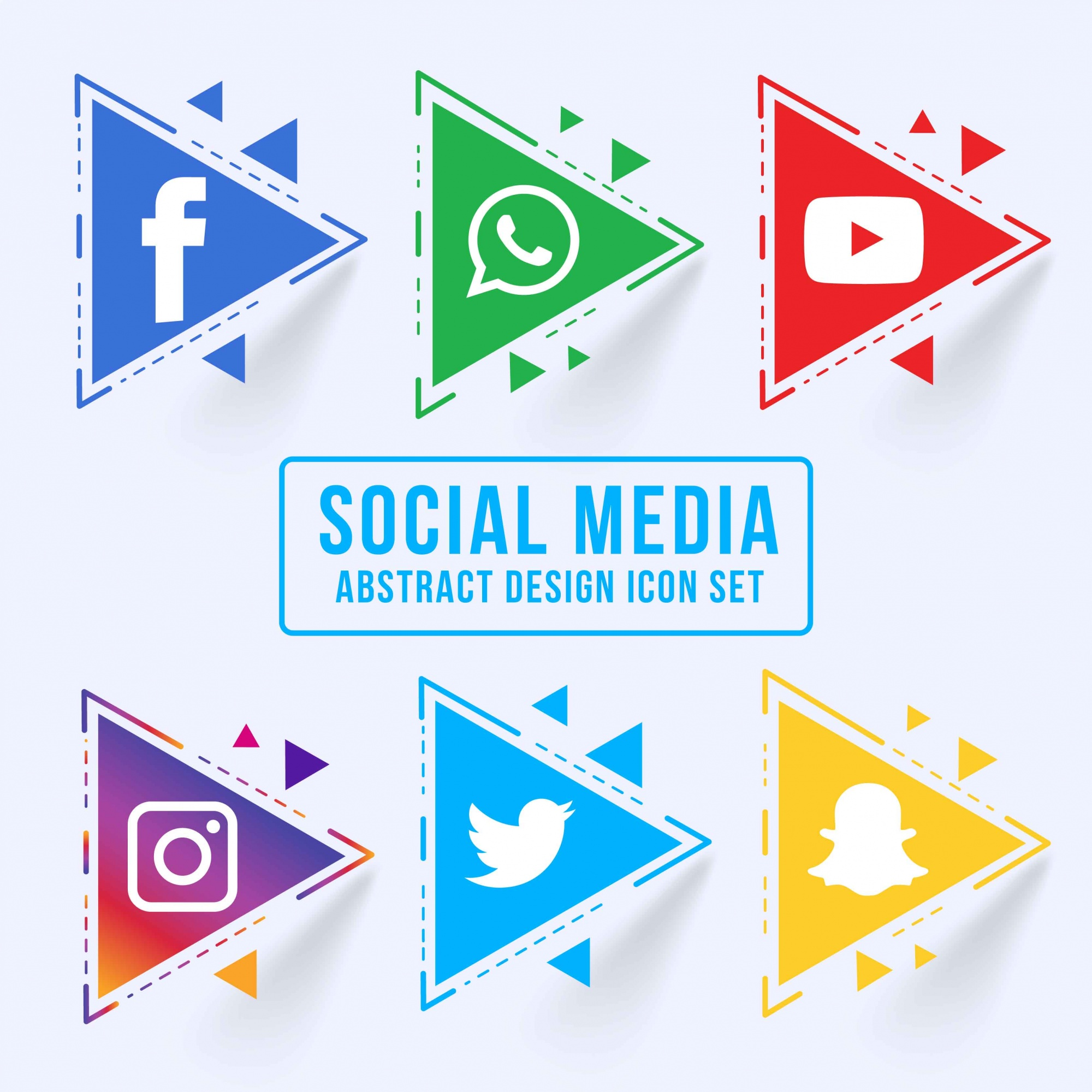 Abstract triangular social media icon set