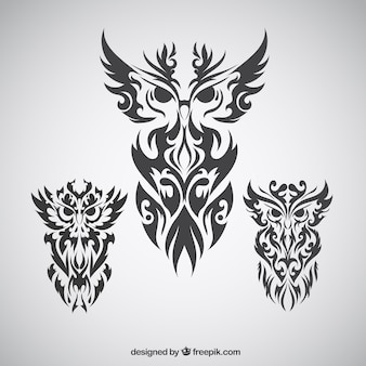 Abstract tribal collection of owls
