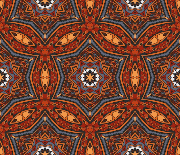 抽象的な部族のインドのモザイクモチーフのシームレスなパターン