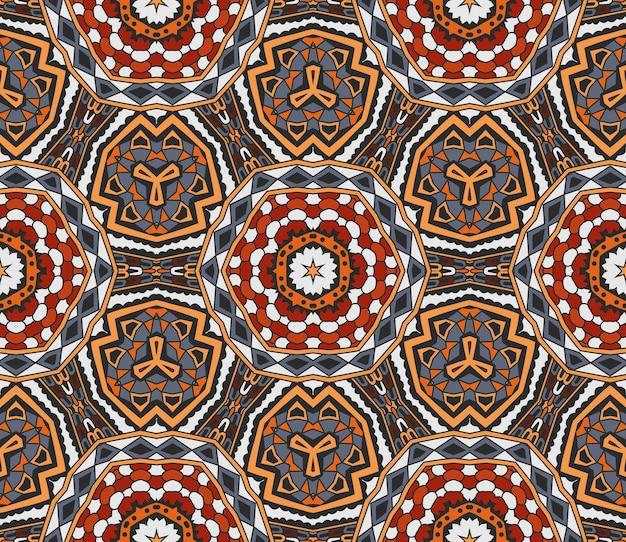 抽象的な部族のインドのモチーフヴィンテージ民族のシームレスなパターン装飾