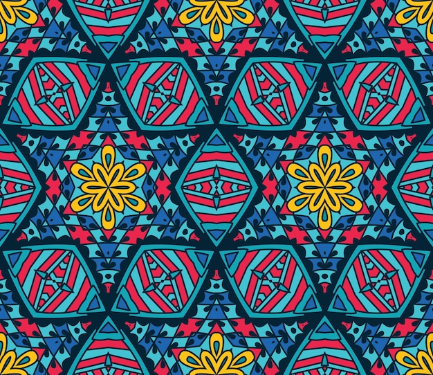 추상 부족 모자이크 타일된 민족 원활한 패턴 장식
