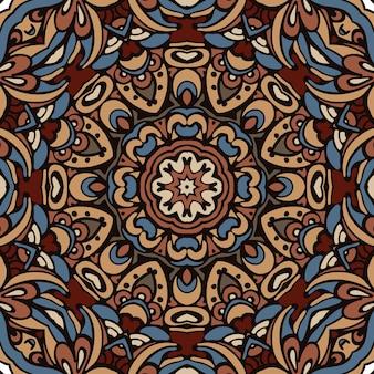装飾的な抽象的な部族のヴィンテージ民族のシームレスなパターン。円形の飾りの背景デザイン