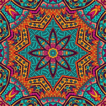 装飾的な抽象的な部族のヴィンテージ民族のシームレスなパターン。鮮やかなカラフルなお祭りフレーム