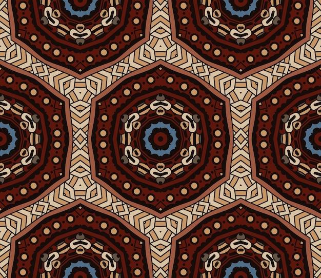 装飾的な抽象的な部族のヴィンテージ民族のシームレスなパターン。お祝いのカラフルな背景デザイン