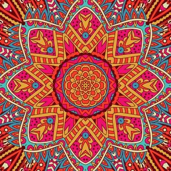 装飾的な抽象的な部族のヴィンテージ民族のシームレスなパターン。花の落書きドイリー曼荼羅フレーム