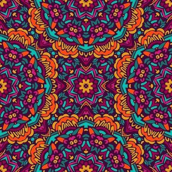 装飾的な抽象的な部族のヴィンテージ民族のシームレスなパターン。タイル張りの花の落書きデザイン
