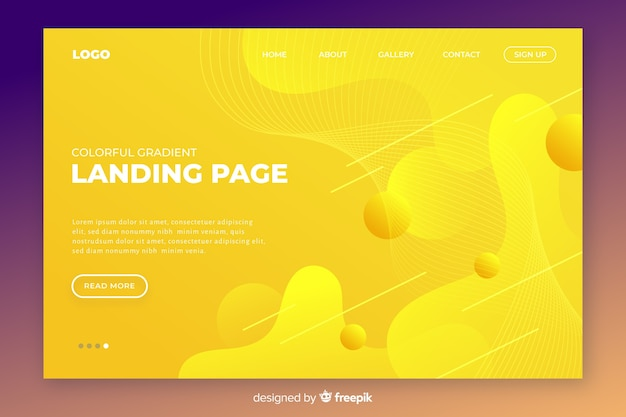 Abstract tridimensional landing page template