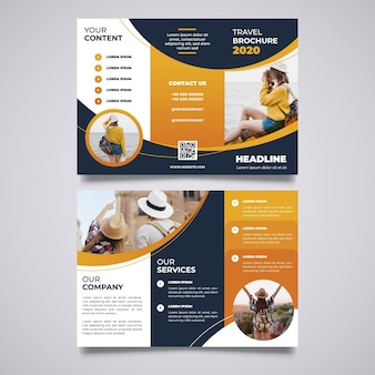 Abstract trifold brochure template with image