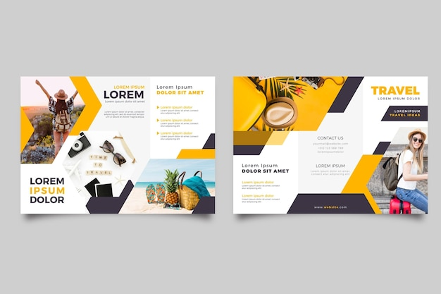 Modello astratto a tre ante brochure con foto e fronte e retro