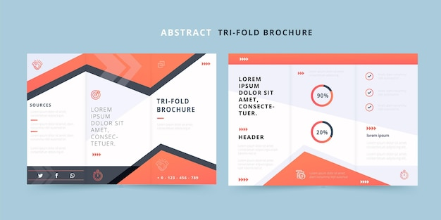 Abstract trifold brochure with geometric lines