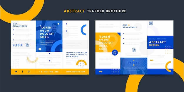 Abstract trifold brochure with halves of circles