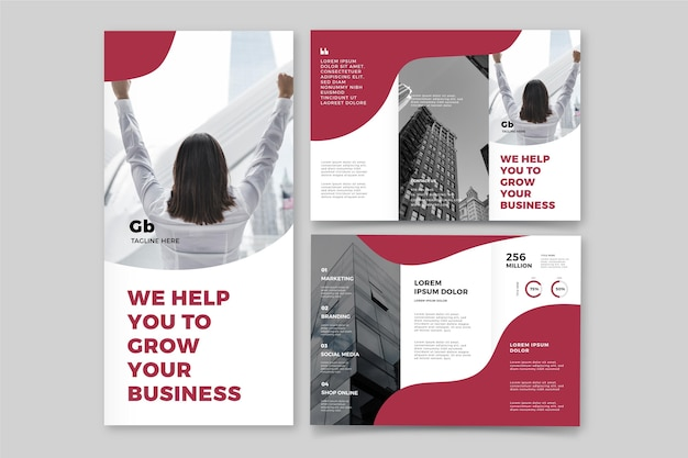Abstract trifold brochure with photo