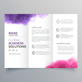 Abstract trifold business brochure with watercolor effect
