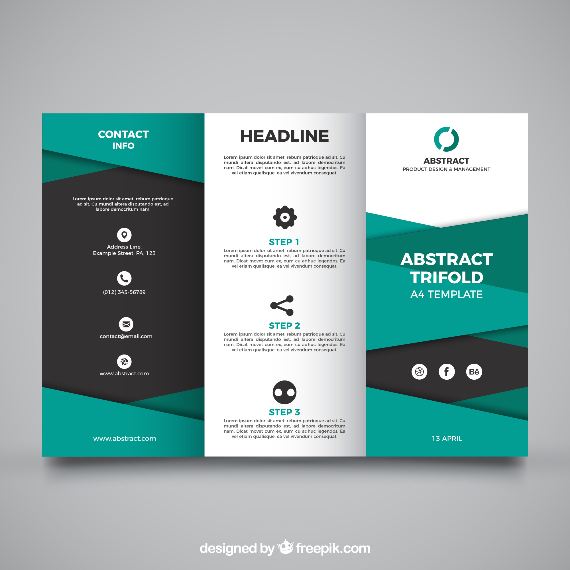 Abstract trifold with green shapes