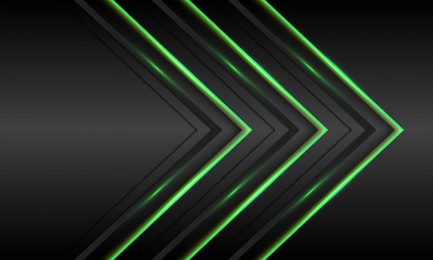 검은 금속 미래 기술 배경에 추상 트리플 녹색 빛 네온 화살표 방향.