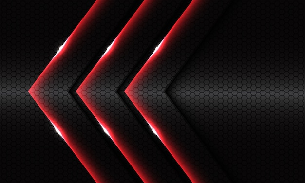 ダークグレーの六角形メッシュメタリックデザインのモダンで豪華な未来的な背景に抽象的なトリプルレッドの光沢のある矢印の方向。