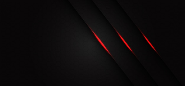 Abstract triple red light line slash on dark grey hexagon mesh pattern design modern futuristic background.
