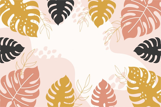 Abstract tropical background with brown,yellow,black monstera leaves.