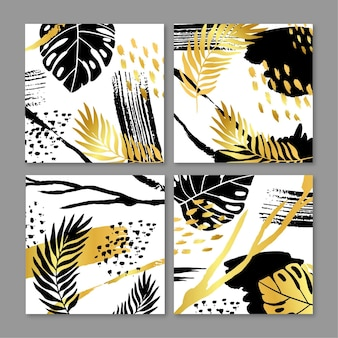 Abstract tropical cards collection