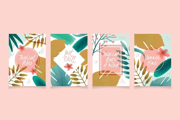 Collezione di carte tropicali astratti