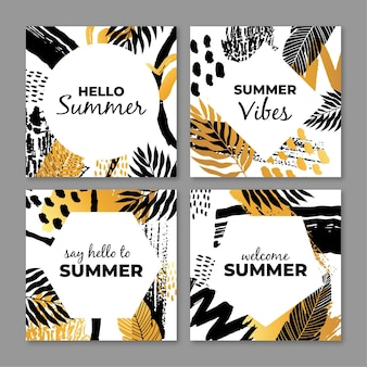 Abstract tropical cards pack