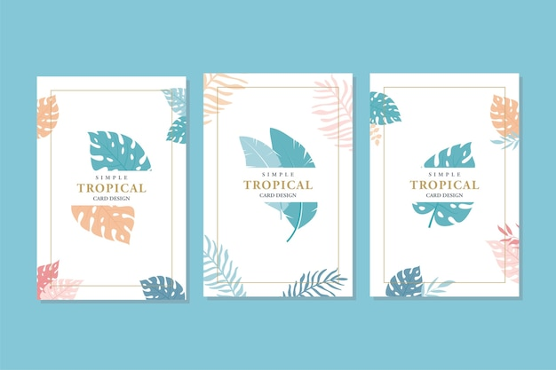 Abstract tropical cards , simple and minimal style