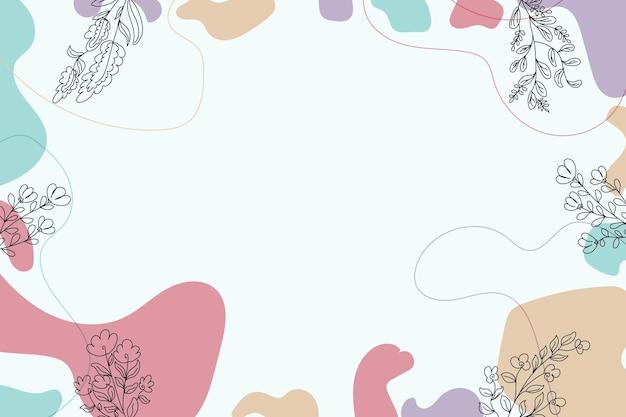 抽象的な熱帯のかわいい花のラインアートカバーの背景