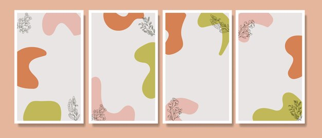 Abstract tropical cute flower poster cover background set abstract background