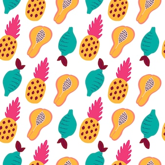 Abstract tropical fruits pattern. exotic seamless pattern with fruits - pineapple, lemon, papaya. vector illustration in hand drawn style. bright ornament for textile and wrapping.