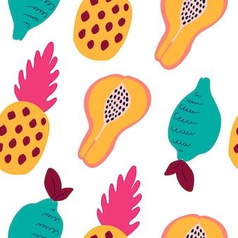 Абстрактный узор тропических фруктов. экзотический фон с фруктами - ананас, лимон, папайя. векторные иллюстрации в стиле рисованной. яркий орнамент для текстиля и упаковки.