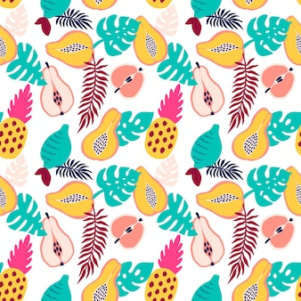 Абстрактный узор тропических фруктов. экзотический фон с ананасом, лимоном, грушей, яблоком, папайей и пальмовыми листьями. векторные иллюстрации в стиле рисованной. яркий орнамент для текстиля и упаковки.