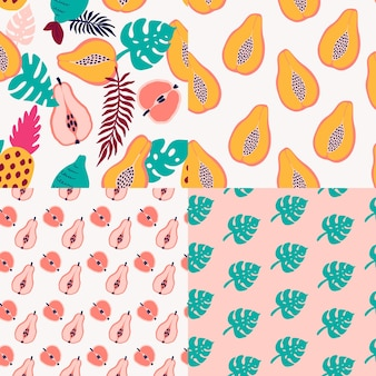 Abstract tropical fruits pattern. exotic seamless pattern with pineapple, lemon, pear, apple, papaya and palm leaves. vector illustration in hand drawn style. bright ornament for textile and wrapping.