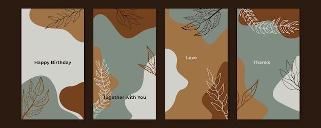 抽象的な熱帯の葉は、葉の線画の葉とブロブの装飾で覆われています