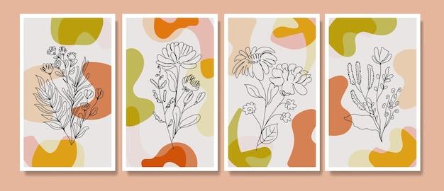 抽象的な熱帯の葉ポスターカバー背景セット抽象的な背景抽象的な葉の壁紙 Premiumベクター
