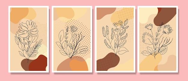 抽象的な熱帯の葉ポスターカバー背景セット抽象的な背景抽象的な葉の壁紙