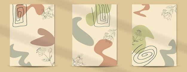 抽象的な熱帯の葉ポスターカバー背景セット抽象的な背景