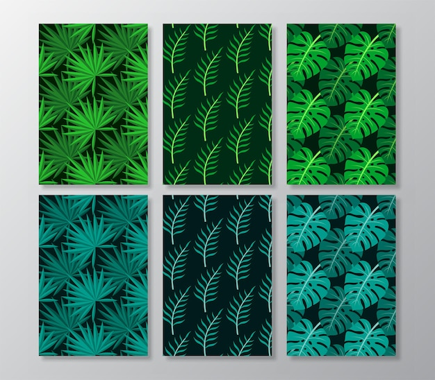 Abstract tropical leaves poster covers background