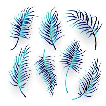 Абстрактные тропические листья на белом фоне. дизайн иллюстрации