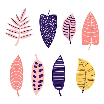 Abstract tropical leaves set