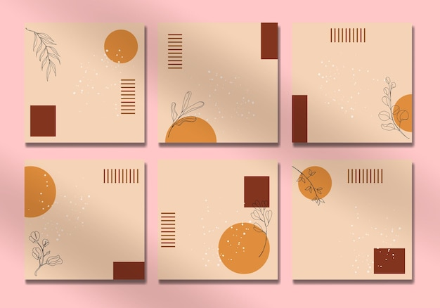 Abstract tropical leaves social media cover set