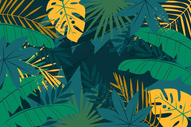 Abstract tropical leaves theme