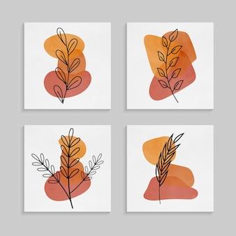 추상 열대 잎 벽 예술