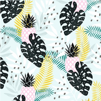 Abstract tropical leaves with pineapple background
