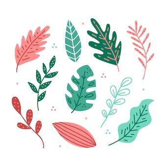 초록 열 대 잎