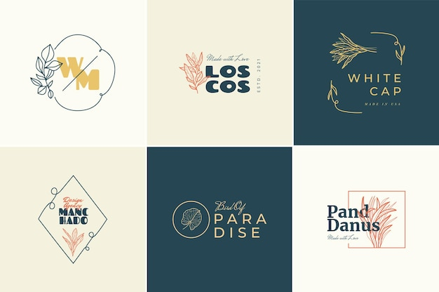 Abstract  tropical logo flowers   signs or logo templates