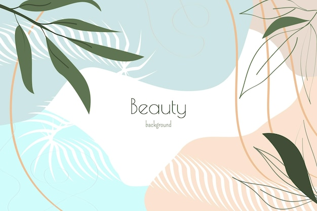 Abstract tropical modern background with leaves geometric liquid shapes fashion template vector