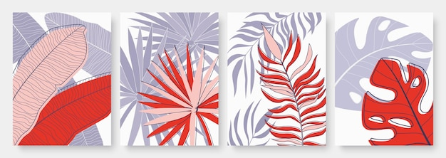 Abstract tropical palm tree leaves set template