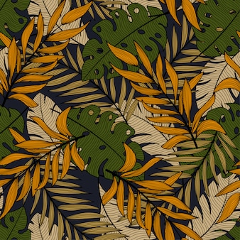 Abstract tropical seamless pattern with beautiful green and orange leaves and plants