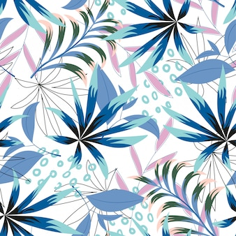 Abstract tropical seamless pattern with bright leaves and plants on a light background
